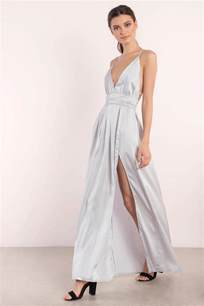 silver dress slit dress silver satin gown maxi