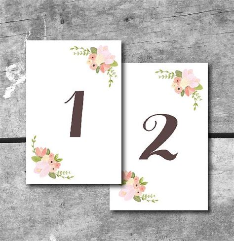 instant  rustic floral table numbers printable