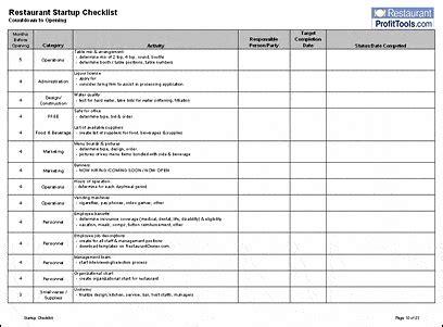 restaurant checklist templates  word excel fomats