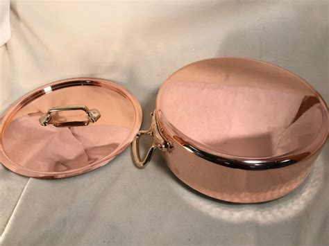 hammered french rondeau copper tin lined pan  lid rocky mountain retinning