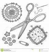 Sewing Tools Coloring sketch template