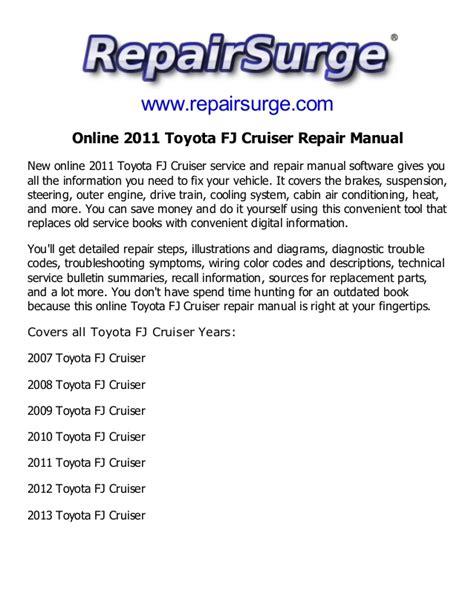 online service manuals 2011 toyota fj cruiser on board diagnostic system 2011 toyota fj cruiser repair manual service manual online
