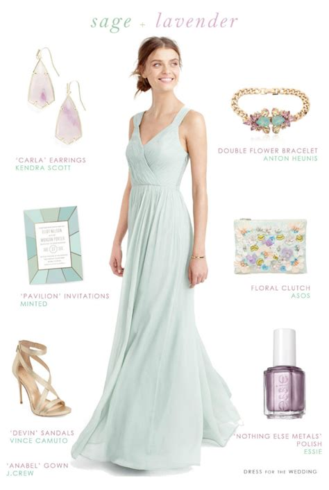 sage green  lavender  bridesmaids dress