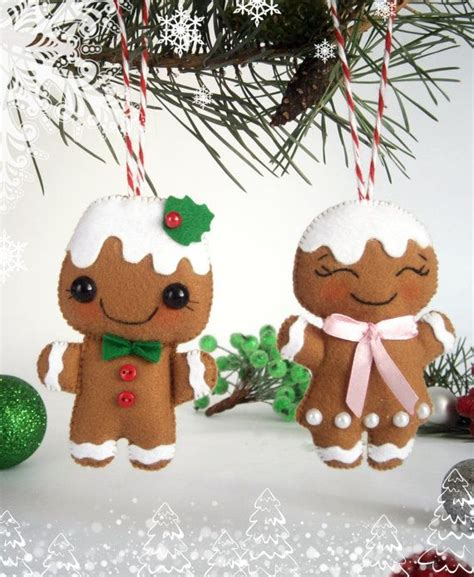 felt christmas ornaments set   gingerbread man felt