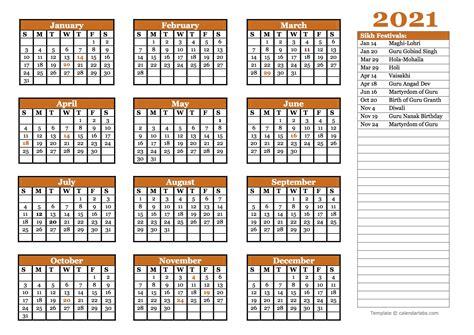 sikh festivals calendar template  printable
