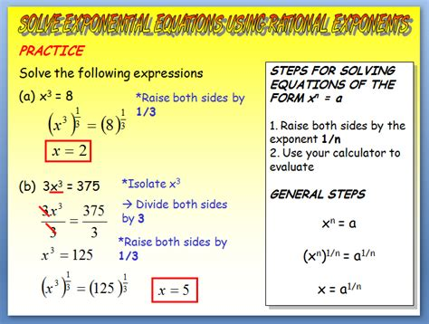 Solving Exponential Equations  Solving Exponential Equations Using Rational Exponents