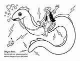 Eel Electric Coloring Drawing Electronics Activity sketch template