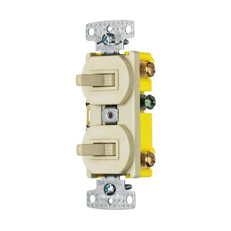 shop hubbell 2 switch 15 single pole 3 way ivory toggle indoor light switch at lowes
