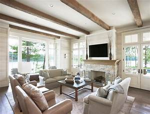 Fireplace beams living room rustic with wood trim