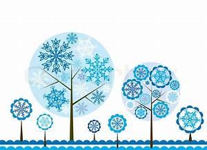 Tree Winter Background  Vector Illustration