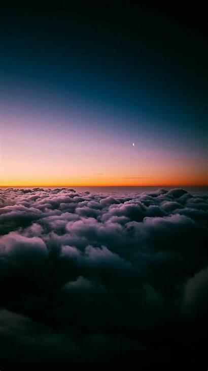 Clouds Sunset Above Horizon Cloud Sky Moon