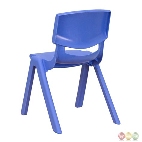 blue plastic stackable school chair with 12 inch seat