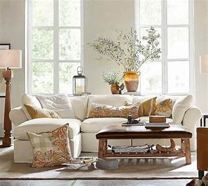 Pb air slipcovered 4 piece sofa with chaise sectional for Small sectional sofa pottery barn