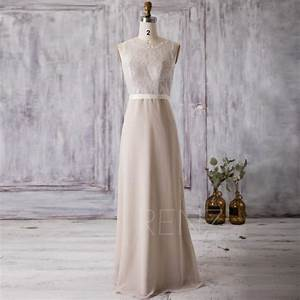 2016 cream beige bridesmaid dress long lace wedding dress With beige lace wedding dress