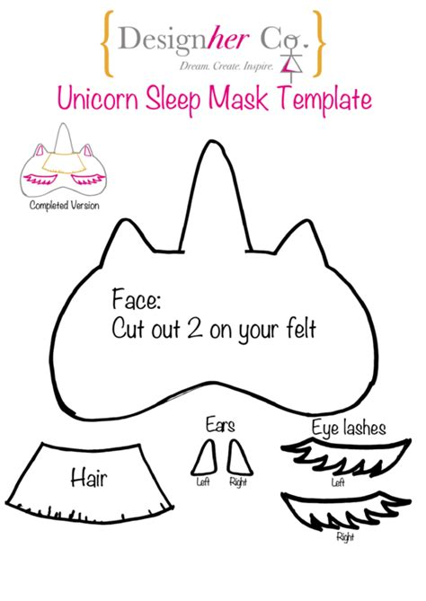 unicorn sleep mask template printable