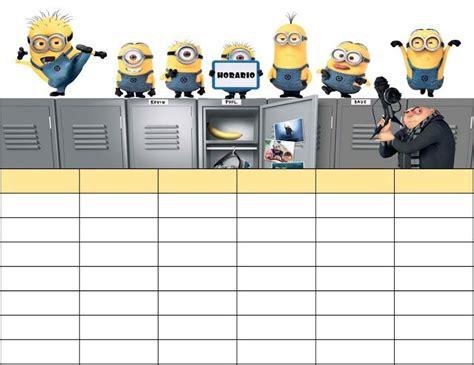 horario escolar descargar gratis bob esponja minions snoopy emoji simpsons pdf png