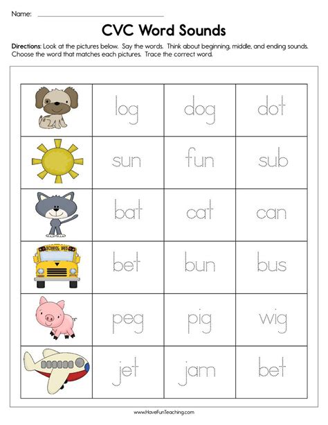 cvc word sounds worksheet  images cvc words cvc