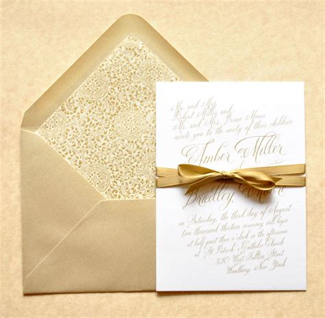 gold wedding invitations gold calligraphy wedding