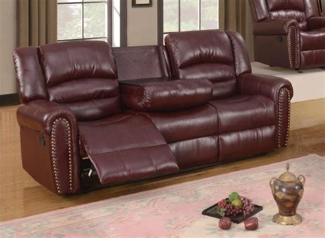 Leather Loveseat With Nailhead Trim by 686 Burgundy Leather Reclining Sofa With Console And