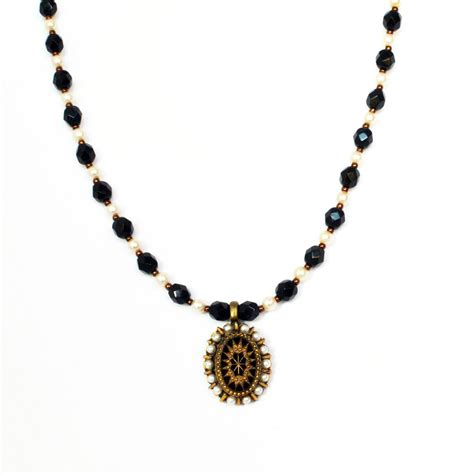 victorian style necklace  black white  gold oval