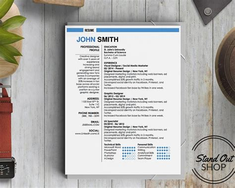 Resume Template Smith by Smith Resume Template Stand Out Shop