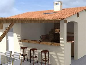 pool house cuisine d39ete local piscine With modele de cuisine d ete