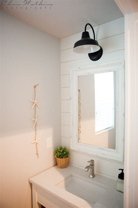 farmhouse style vanity lights barn wall sconce lends farmhouse look to powder room