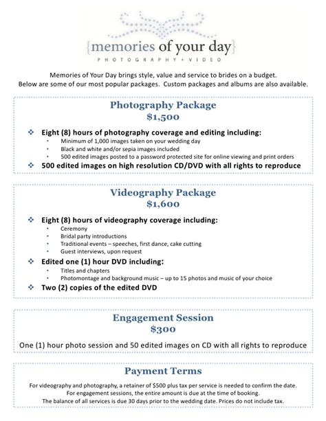 wedding photography package pricing memories   day