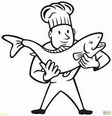 Coloring Pages Trout Fish Cook Chef Nurse Holding Needle Drawing Professions Clipart Brook Preschool Printable Clip Cooking Getcolorings Getdrawings Factory sketch template