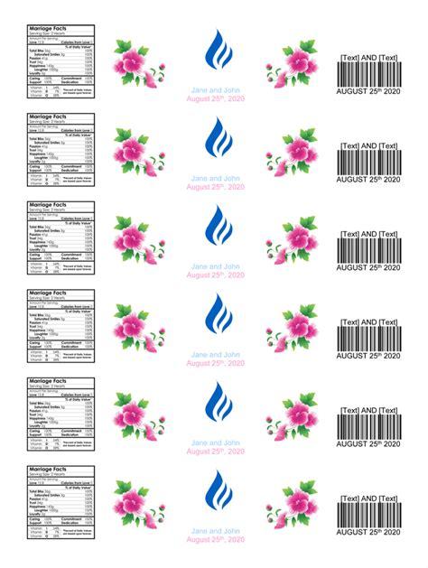water bottle label template  personalized bottle labels