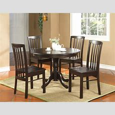 5pc Round Kitchen Dinette Set Table And 4 Chairs Walnut  Ebay