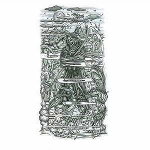 designing a sleeve tattoo template - mermaid half sleeve tattoo design