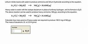 Solved: Lithium Nitride Reacts With Water To Produce Ammon ...
