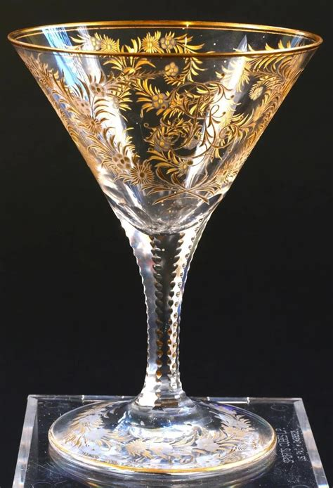 gold gilded  engraved crystal goblets gilded age
