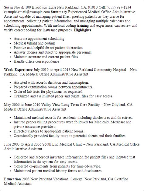 resume sles for office assistant professional