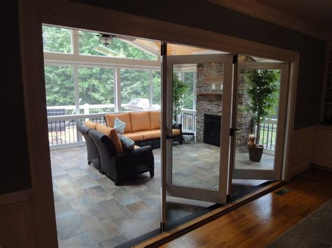 raleigh nc  season room  outdoor fireplace