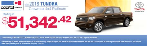 Capitol Toyota Salem by 2018 Toyota Tundra Specials Save On The Ultimate