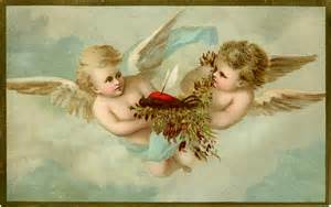 vintage cherubs with robin image sad but sweet the graphics