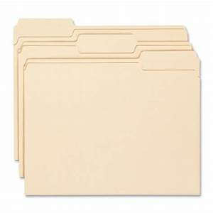 Smead manila folder letter size 11 point 1 3 cut tab for Manila file folders letter 3 tab