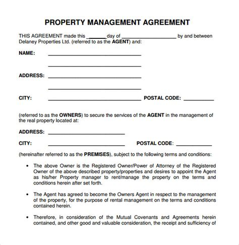 property management agreement template 12 management agreements to sle templates