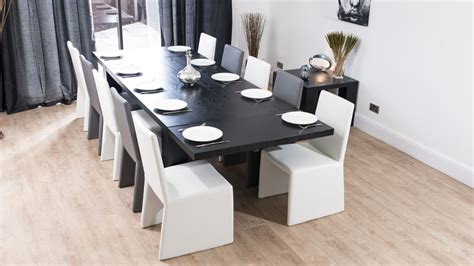modern large extending black ash dining table chunky
