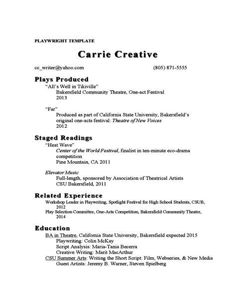 acting resume exle free