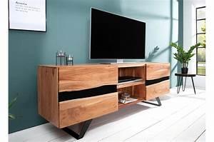 Meuble Tv Design Bois : meuble tv design bois massif et m tal 160 cm acacia pour salon ~ Melissatoandfro.com Idées de Décoration