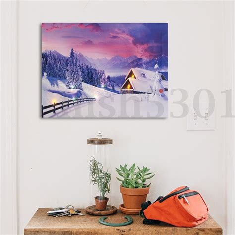 led light wall decor snow cabin led light up lighted canvas painting picture
