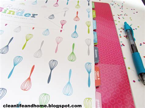 clean life  home printable recipe binder