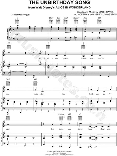 unbirthday song  alice  wonderland sheet