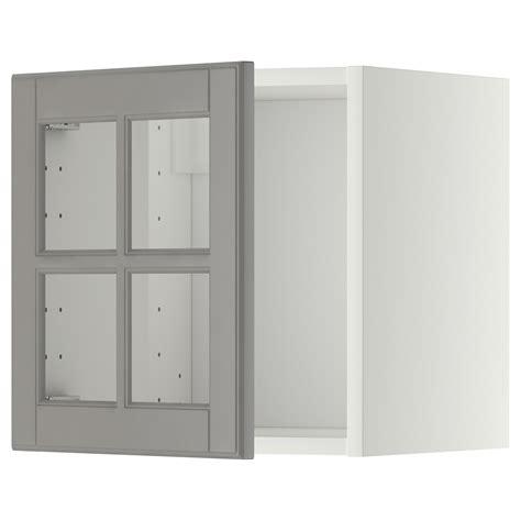 meuble haut cuisine profondeur 30 cm metod lment mural porte vitre blanc bodbyn gris