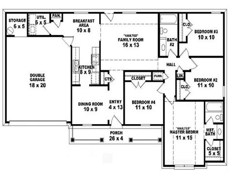 one storey house plan 4 bedroom one story ranch house plans inside 4 bedroom 2