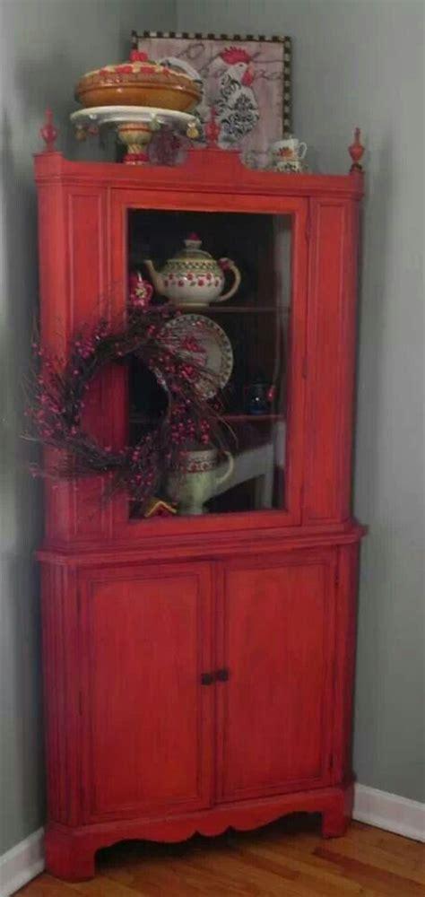 vintage red corner hutch  geckos hyde pinterest vintage corner hutch  red