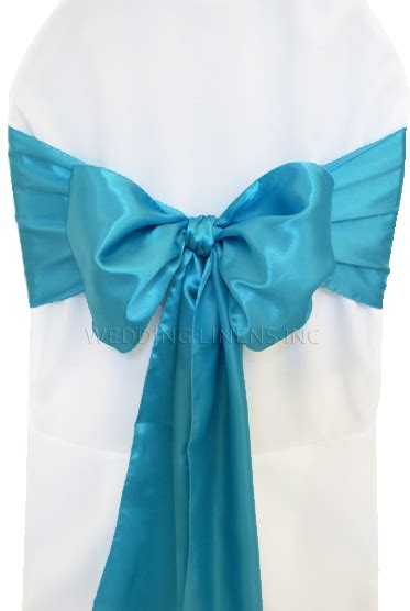turquoise satin chair sashes chair bows ties wedding
